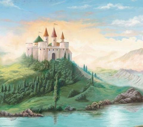 Castle value mural h2148pm castles in the air wall for Castle mural wallpaper