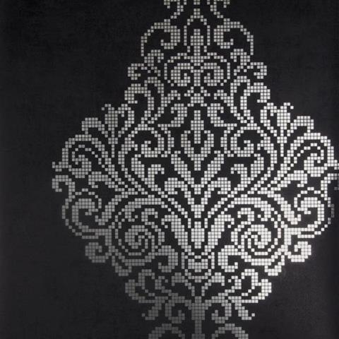 Lux Charcoal Foil Damask