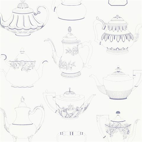 Kitchen wallpaper design teapots