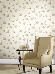 White and Beige Classical Scroll Wallpaper