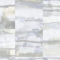 Aquarelle Tile Wallpaper in Blue, Cream & Greys