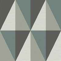 Aspect Teal Geometric Faux Grasscloth