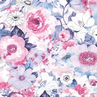Baldwin Purple Watercolor Floral Wallpaper