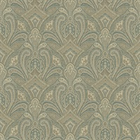 Barnes Teal Paisley Damask Wallpaper
