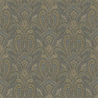 Barnes Navy Paisley Damask Wallpaper
