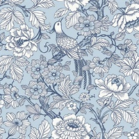 Beaufort Light Blue Peony Chinoiserie Wallpaper