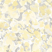 Bloom Wallpaper in Yellow & Grey