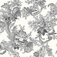 Carmel Black Baroque Florals Wallpaper