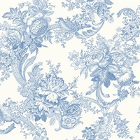 Carmel Light Blue Baroque Florals Wallpaper