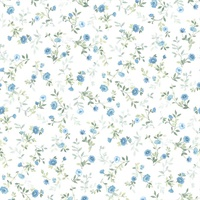 Catlett Blue Floral Toss Wallpaper
