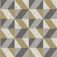 Cerium Metallic Concrete Geometric Wallpaper