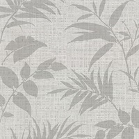 Chandler Light Grey Botanical Faux Grasscloth Wallpaper