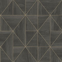 Cheverny Dark Brown Geometric Wood Wallpaper