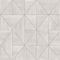 Cheverny Light Grey Geometric Wood Wallpaper
