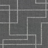 Clarendon Charcoal Geometric Faux Grasscloth Wallpaper