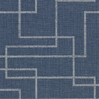 Clarendon Indigo Geometric Faux Grasscloth Wallpaper