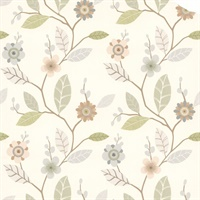 Claudia Light Blue Retro Blossom Wallpaper