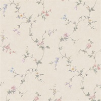 Connie Beige Small Floral Trail Wallpaper