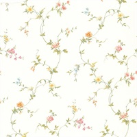 Connie White Small Floral Trail Wallpaper