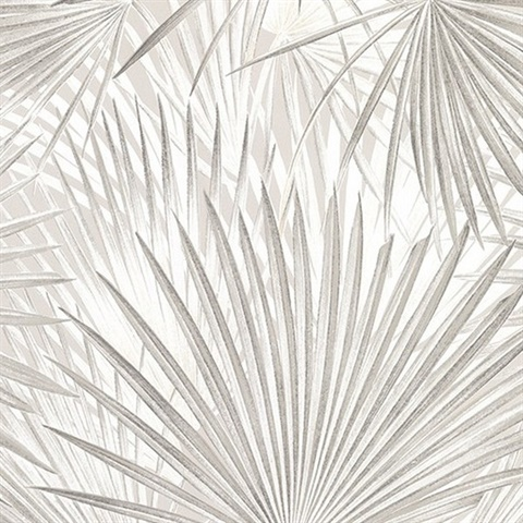 Ducasse Light Grey Palms Wallpaper