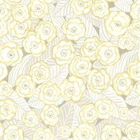 Emery Light Yellow Floral Wallpaper