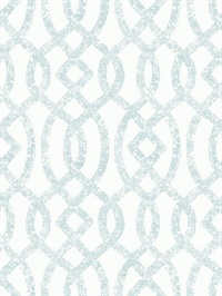 Ethereal Sky Blue Trellis Wallpaper