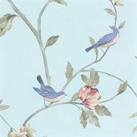 Floral Bird Sidewall Wallpaper