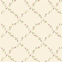 Red Rose Trellis Wallpaper