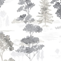 Forest Wallpaper Black, Grey & White