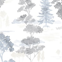 Forest Wallpaper in Beige, Blue & Grey
