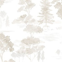Forest Wallpaper in Beige, Grey & White