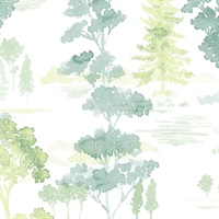 Forest Wallpaper in shades of Green