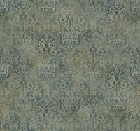 Frederick Teal Quatrefoil Medallion Wallpaper