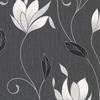 Gallagher Charcoal Floral Trail Wallpaper