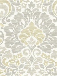 Garden of Eden Yellow Damask Wallpaper