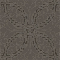 Geometric Leaf Scroll Metallic Wallpaper