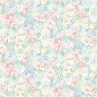 Georgia Pastel Floral Motif Wallpaper