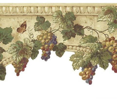 Grapes On Stone Wallpaper Border At75312b Art And