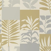 Hammons Gold Block Botanical Wallpaper