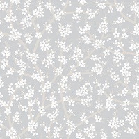 Henrik Light Grey Floral Wallpaper