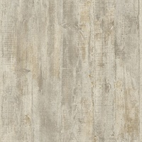 Huck Taupe Weathered Wood Plank Wallpaper