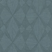 Intrinsic Teal Geometric Wood Wallpaper
