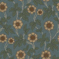 Leilani Blue Floral Wallpaper