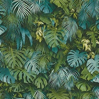 Luana Blue Tropical Forest Wallpaper