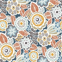 Lucy Navy Floral Wallpaper