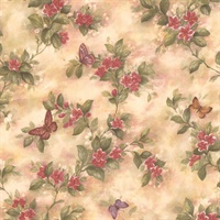 Mariposa Mauve Butterfly And Floral Trail Wallpaper