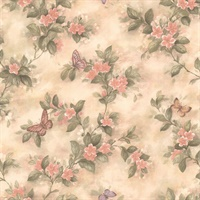 Mariposa Pink Butterfly And Floral Trail Wallpaper