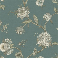 Monaco Teal Jacobean Trail Wallpaper