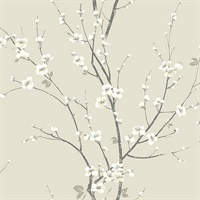 Monterey Ivory Floral Branch Wallpaper