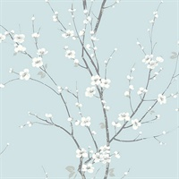 Monterey Sky Blue Floral Branch Wallpaper